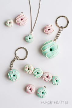 Aren't these DIY clay donut accessories so cute that you almost want to eat them? I mean, they are teeny tiny, pastel colored and look like the real deal. What's not to like! It turns out, that this kawaii jewelry also is super easy and fun to make.