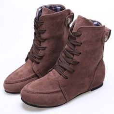 Fashion Women Round Toe Martin Lace-up Invisible Heel Ankle Boots