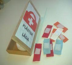 Plåsterlåda och plåster av flanell och kardborreband