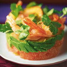 Salade de crevettes, pamplemousse et avocat