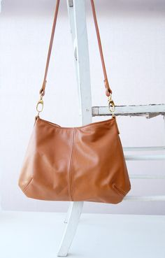 Tan leather bag soft leather handbag shoulder bag by ForestBags