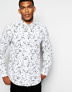 Wincer & Plant Smart Shirt with Musical Note Print Slim Fit