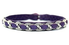 Bright purple (lilac, pink, black etc.) braided armband. Sami (Viking, Swedish) cuff leather women bracelet with silver beads.  The Scandinavian Sami wide bracelet are made from soft leather of deer and lamb with an original plaiting pewter thread.  Design information * European soft skin of deer and lamb * Braid in pewter wire that contains 4% silver and 96% tin * With button closure hand made from deer antler * all original materials from Sweden * Width: 1.5 cm / 0.59 Inch  Measure aro...