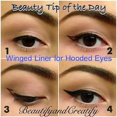 Winged Liner for Hooded Eyes. 1. Line your lashline. 2. Open your eyes and look straight. Draw a wing on the overlapping hooded lid by looking straight ahead. 3. Now look down, connect the gap of the wing under the hooded lid and fill the wing in. 4. Smoothen the lines and you are done!