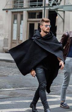 Caped blackonblack streetswag beard style