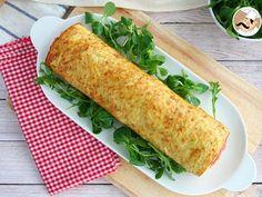 Rollo de tortilla de patatas relleno de jamón y queso, foto 4