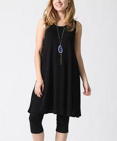 Look at this #zulilyfind! Black Scoop Neck Sleeveless Tunic - Plus #zulilyfinds