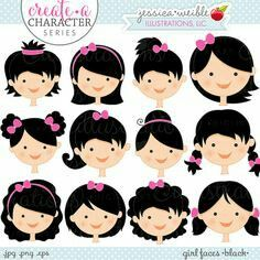 Black Hair Girl Faces - Create A Character Series - Cute Digital Clipart - Commercial Use OK - Mix & Match Sets to Create Your Own Character by JWIllustrations Felt Dolls, Paper Dolls, Clipart, Adobe Illustrator, Dark Skin Boys, Create Your Own Character, Girl Faces, Inkscape Tutorials, Tilda Toy