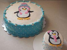 Penguin first birthday cake