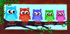 """6"""" X 18"""" Owlettes (Personalized Sign) Wall Decor, Owl Sign, Personalized Owl, Owl Painting"""
