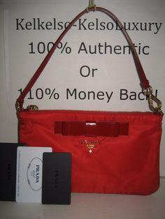 296.01$  Watch here - http://vispk.justgood.pw/vig/item.php?t=tkxul524106 - NEW PRADA Red Nylon Patent Leather Gold Logo Bow Wristlet Wallet Clutch Handbag 296.01$