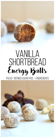 Vanilla Shortbread Energy Balls - Little Bits of. These Vanilla Shortbread Energy Balls recipe is perfect for a paleo snack or dessert that is clean, flavorful and only had 4 ingredients! Paleo Dessert, Dessert Recipes, Paleo Recipes, Whole Food Recipes, Free Recipes, Short Bread, A Food, Good Food, Protein Ball
