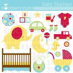 Baby Elephant Clipart Set