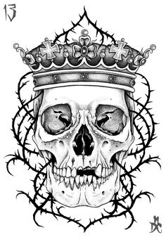 Gallery For Drawings Of Skulls With Crowns