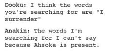 The words I'm searching for I can't say because Ahsoka is present. #swfunny: