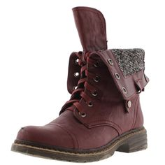 Wanted Womens Crowley Faux Leather Fold-Over Combat Boots