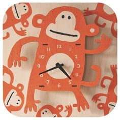 Monkey Orange Wall Clock @Layla Grayce