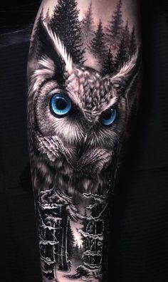 Owl Forearm Tattoo, Mens Owl Tattoo, Forarm Tattoos, Wolf Tattoos, Animal Tattoos, Owl Tattoo Back, Black Owl Tattoo, Tattoo Owl, Tatoos