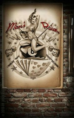 Poster - Mans Ruin - Poster mit handgemaltem Pin-Up Motiv auf… Rockabilly Tattoos, Rockabilly Pin Up, Pinup Art, Pin Up Kunst, Dibujos Pin Up, Garage Art, Garage Signs, Geniale Tattoos, Tattoo Ideas