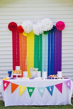 Smarty Parties: Lexi& Rainbow My Little Pony Party Rainbow Dash Party, Rainbow Dash Birthday, Rainbow Parties, Rainbow Table, Rainbow Party Decorations, My Little Pony Party, Cumple My Little Pony, 6th Birthday Parties, Girl Birthday