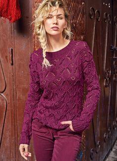 Малиновый джемпер с «шишечками» Summer Knitting, Easy Knitting, Pulls, Sweater Knitting Patterns, Knitting Designs, Bamboo Knitting Needles, Knit Basket, Knitting Accessories, Knitted Bags