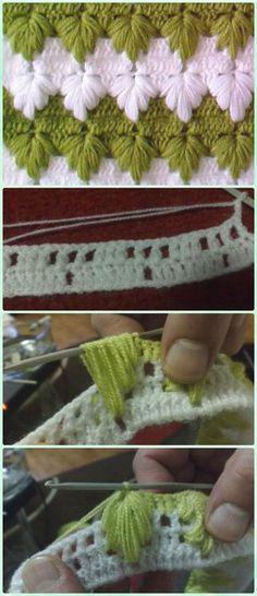 Crochet Puff Spike ponto livre padrão