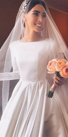 Satin Boat Neck Wedding Dress, Simple Modest Wedding Dresses, Open Back Wedding Gown Bridal Dress Satin Boat Neck Wedding Dress, Wedding with open back Boat Neck Wedding Dress, Modest Wedding Dresses, Bridal Dresses, Wedding Gowns, Bridesmaid Dresses, Dresses Dresses, Wedding Reception, Lace Wedding, Boat Wedding