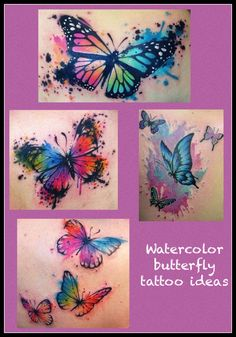Butterfly watercolor tattoo ideas I love this idea for a sleeve tatoo Watercolor Butterfly Tattoo, Butterfly Tattoo Cover Up, Butterfly Tattoo Meaning, Butterfly Tattoo On Shoulder, Watercolor Tattoos, Colorful Butterfly Tattoo, Flower Watercolor, Finger Tattoos, Body Art Tattoos