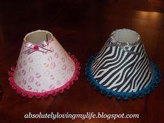 Loving Life: DIY Little Girl's Lamp Shade - Thrift store lamp shade, scrapbook paper, ribbon, trim and a hot glue gun.  Super Easy!