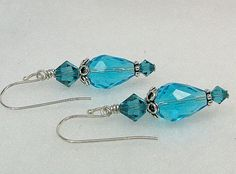 Crystal turquoise earrings Swarovski crystal by earringsbylulu, $12.00
