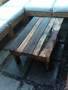 Outdoor coffee table made from shipping pallets. Host for succulents. (working on making plans for DIYers)