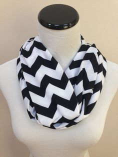 NO. 1 Infinity Scarf Black Chevron Jersey by oneforonecreations, $18.00