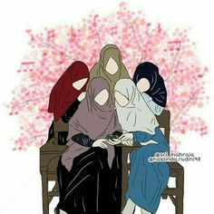 Gambar Kartun Muslimah 5 Sahabat Bercadar