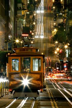 """California Street cable car"" by ISTORAX on Flickr ~ This photograph of a California Street cable car at night was taken in the financial district, San Francisco, California, USA."