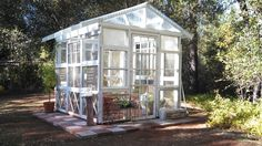 My finished greenhouse made from old windows!