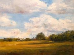 Country Sky Oil Painting Landscape Art Fields Trees Clouds Shadows, painting by artist Debra Sisson
