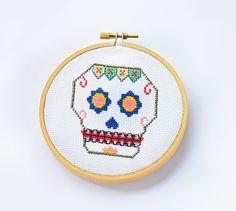 Mexican Skull Mod. IV Sugar Skull Pattern Cross by LanasCrespo
