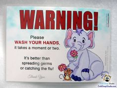 Wash Your Hands to Avoid the Flu Entry Door Sign for Kitchens, Bathrooms, Day Care, Office, Classrooms, Home - Flower Friends