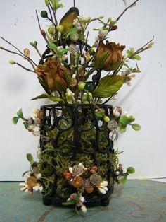Autumn Floral Arrangement in Little Metal Bird by landgdesigns