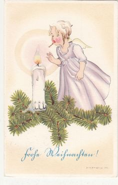 Merry Christmas, artist AK, old AK 1941 gel. Christmas Crafts For Kids, Christmas Angels, Vintage Christmas, Merry Christmas, Christmas Ideas, Holiday Cards, Christmas Cards, Christmas Postcards, Old Fashioned Christmas