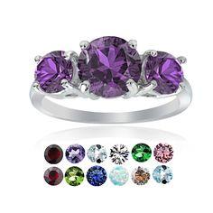 Glitzy Rocks Sterling Silver Gemstone Birthstone 3-Stone Ring (March - Aquarmarine CZ Size 6), Women's, Blue