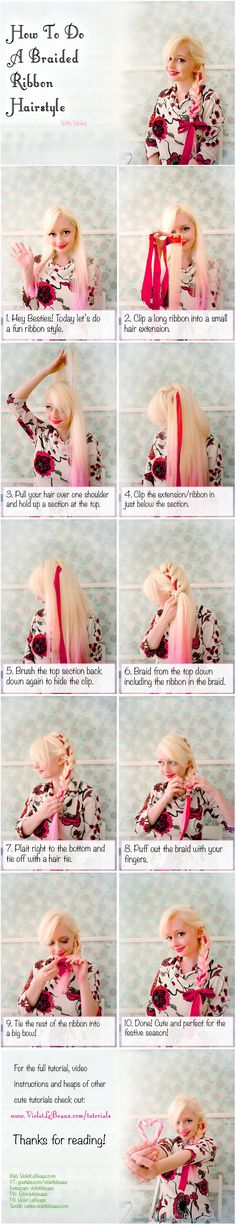 Holiday Ribbon Braid Hairstyle Tutorial by VioletLeBeaux.deviantart.com on @DeviantArt