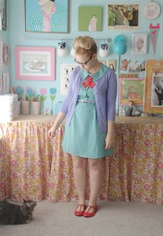 Scathingly Brilliant: disney day one// I have a cardigan in this color! I love it with that blue dress. :)