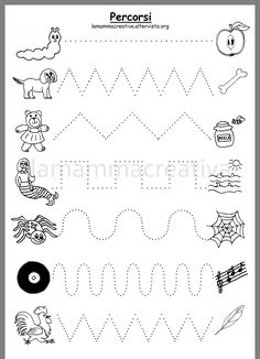 Line Tracing Worksheets, Maze Worksheet, Writing Worksheets, Alphabet Worksheets, Kindergarten Worksheets, Dinosaurs Preschool, Preschool Writing, Word Families, Learning Tools