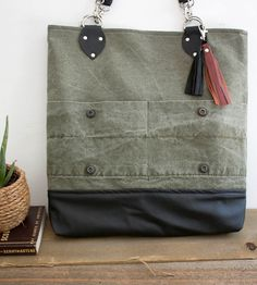 Army Canvas & Leather Tote