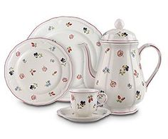 Villeroy & Boche - Petite Fleur - Careful what you wish for. I saw this at a friends house as a teen (his Mom made a bunch of us pancakes before going skiing) She had glass cupboards in the 80's! Very preppy - everything Laura Ashley. I have been collecting now for yrs. It brings me joy every day, and omg V & B is SO STRONG, amazing porcelain.