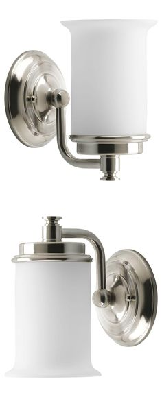 Cleverly designed to coordinate with plumbing fixtures from several major brands, the Currents collection features finely crafted metal fittings. Etched, white opal glass shades are molded with a crisp cylindrical silhouette to provide pleasing illumination. This light fixture can be installed with the glass facing up or down to suit your preference.