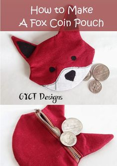 How to Make a Fox Coin Pouch with free pattern and tutorial