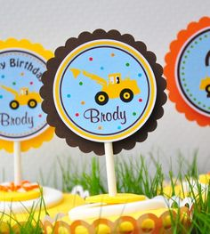 Construction Cupcake Toppers Digger  Set of 12 by thepaperkingdom, $10.00