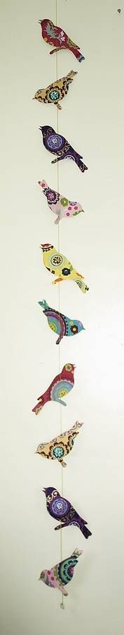 handmade paper birds garland bunting by seagirl and magpie | notonthehighstreet.com
